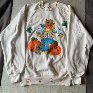 Halloween Vintage Crewneck Sweatshirt Applique L